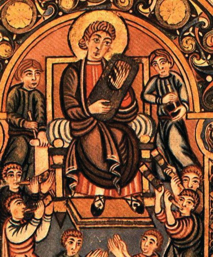 An eighth-century drawing of David composing the Psalms